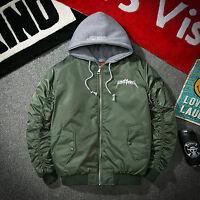 Mens MA1 Bomber Cotton Jacket Flight Army Coat embroidery Biker Hooded Jackets