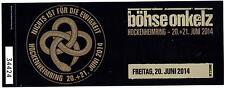Böhse Onkelz Nichts ist für die Ewigkeit - Altes Konzert-Ticket Hockenheim 2014