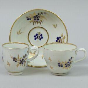 ANTIQUE WORCESTER PORCELAIN TEA CUP, COFFEE CUP & SAUCER C.1785