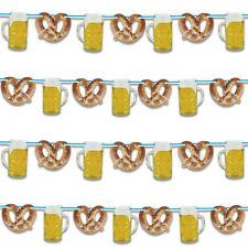 Oktoberfest Girlande 10m WEISS blau Brezel Bier DEKO Bierfest