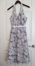 Liz Claiborne Women's Halter Dress Size 12 Floral Striped White Ribbon Belt