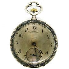 Antique Art Nouveau La Rochette Pocket Watch In .875 Silver & Black Enamel Case