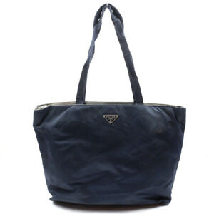PRADA Tote Bag Triangle Logo Nylon Navy