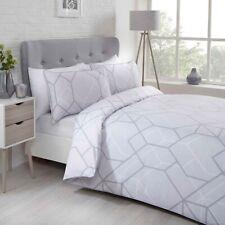 "Rapport ""Network"" Geometric Print Reversible Duvet Cover Bedding Set Grey"