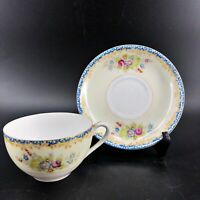 Vintage Occupied Japan M.B. Mark Porcelain Tea Cup and Saucer Shabby Chic Floral