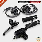"""Motorcycle 1"""" Handlebar Hand Grips + Switch Controls + Clutch Brake Levers Set"""