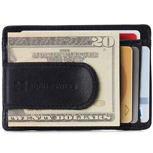 Alpine Swiss Mens RFID Money Clip Leather Minimalist Wallet Card Case ID Window