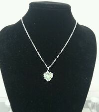 Green Heart Pendant Plating Silver Necklace New with gift bag