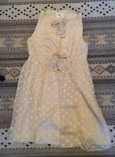Mini vestido nuevo Estilo 1960s York Milly Crema Lunares de seda UK12