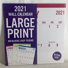 2021 LARGE Print Big Grid Block Easy to Read Numbers Wall Calendar Room to Write
