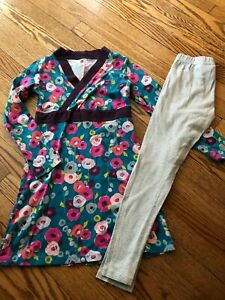 Girl's TEA COLLECTION Floral Dress + Striped Leggings Set - Size -12