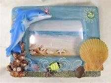 Dolphin Picture Frame w/ Sea ShellsTropical Seashore Decor