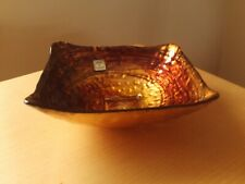 Square Tuscany Italy Glass Bowl Brown / Gold Design.