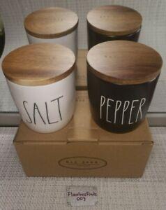 💯RAE DUNN by Magenta SALT & PEPPER Cellars Canister Shaker WOOD LID Black White