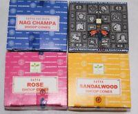 Satya Nag Champa Super Hit Rose Sandalwood Incense Cone Lot 4 Boxes = 48 Cones