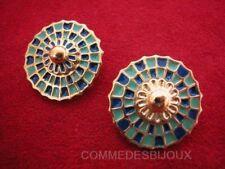 """B.O. """"Cercle Parasol"""" doré Ombrelle Fond de Piscine Bleu - Bijoux Vintage Sphinx"""