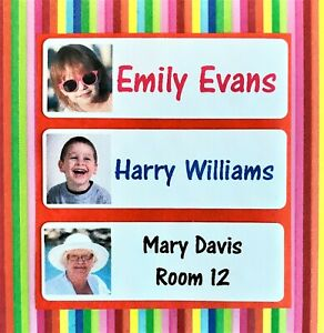 Personalised Iron On Waterproof Name Labels with photo / School Name Tags