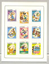 Gambia #498-507 Easter, Disney 9v & 1v S/S Imperf Chromalin Proofs in Folder