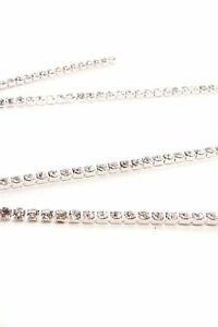 SS6 2M Rhinestone Diamante Chain Rope Silver Crystal for Trimming Sewing Craft