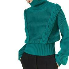 Fashion Womens Turtleneck Sweater Loose Knitted Wool Blend Short Pullover Tops L