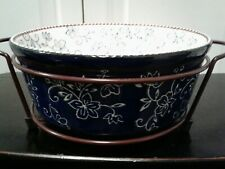 Temp-tations 1.5 Qt Baking Dish Casserole W/ Rack Floral Lace Navy White New