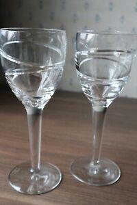 "2 Waterford Crystal ""Aura"" Wine Glasses by Jasper Conran Unused Condition 9"""