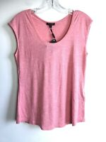 New Massimo Dutti Shimmery Shimmer TShirt Pink Peach Sz XS S