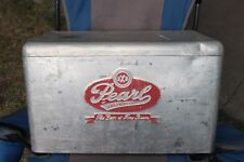 """Large Vintage 1950s Pearl XXX Beer Picnic Cooler 22"""" Embossed Metal Gas Oil Sign"""