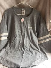 VS  Pink GRAPHIC Football Jersey 3/4 Sleeve Crew Tee Shirt~ Gray~Large ~NWT L@@K