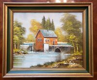 Framed Signed Brian Roche Oil on Canvas Painting Watermill Scene 19 x 23