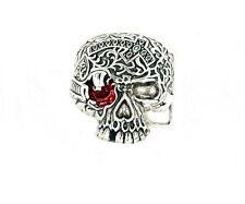 Large Red Eye Skull Belt Buckle Silver Plated Pirate Belt Buckle