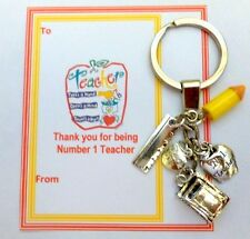 Thank you Gift Number 1 Teacher at End of Term On Gift card Key Ring +Charms