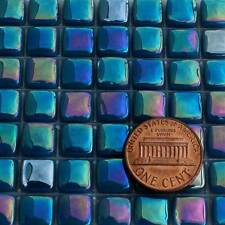 8mm Mosaic Glass Tiles - 2 Ounces About 87 Tiles - Iridescent Phthalo Blue #1