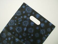 50 Plastic Die Cut Boutique Shopping Carry Gift Bags - 350x250mm - Black & Blue