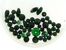 Vintage Japan Emerald Green Color Mix Fancy Shape & Style Art Glass Bead Lot