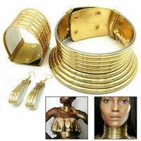 Charm Choker African Metallic Coil Collar Necklace Earring Bracelets Set Jewelry