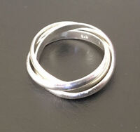 Sterling Silver 3 Interlocking Stack Russian Wedding Ring Band 5 6 7 8 9 10 11.5
