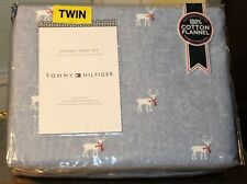 Tommy Hilfiger TWIN 100% Cotton Flannel Sheet Set White Reindeer Red Blue NEW