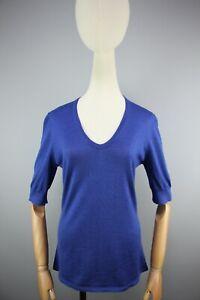 Brunello Cucinelli  Women's Blue Cashmere Short Sleeve Sweater Size M