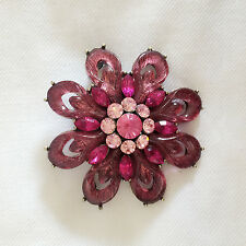 New Fushia Pink Flower Good Luck Crystal Round Crystals Brooch Pin BR1065