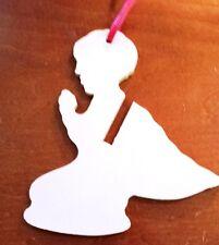"Elegant 4"" Wooden Angel Praying Silhouette Ornament Christmas Tree Holiday"
