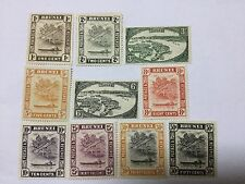 1947 Brunei 10 Stamps Up to 50c Mint Hinged. Watermark Multi Script CA