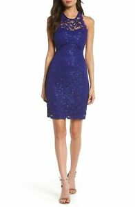 Sequin Hearts $69 Blue Lace Bodycon Racerback Sheath Dress Size 7 NEW