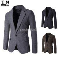 Men's Slim Fit Stylish Smart Casual Contrast Blazer Coat Suit jacket 9283 #ES
