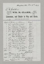 New listing Original 1873 Colorado Territory Letterhead, Wm Clark Liveryman, Georgetown, Co.