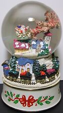"""7 3/8"""" Lenox Holiday Christmas Musical Snow Globe Snow Dome """" Deck the Halls """""""