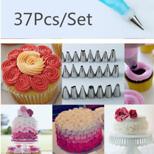 37pcs Pastry Tube Cream Icing Piping Tips Nozzle Stainless Steel Cake Tool Set