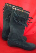C Label Green Moccasin Calf Boots Tapestry Fringe Womens Flat Size 8