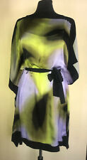 Escada Silk Dress Flowing Scarf Drape W/ Tie Belt Over Solid  Slip Sz 36 Ex Cond