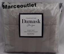 Charter Club Damask Stripe 550 TC QUEEN EXTRA DEEP Sheet Set Smoke Gray